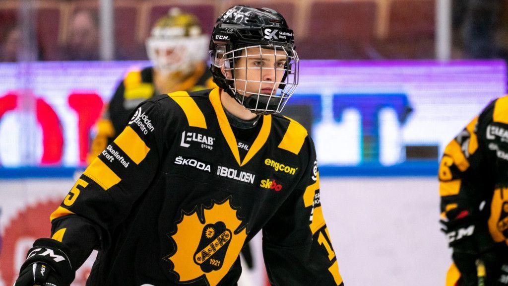 Gabriel Säll under sin SHL-debut tidigare i år.