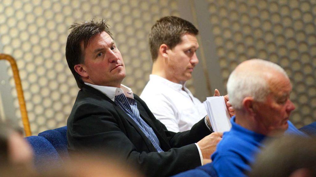 Stefan Bengtzén och Sam Hallam under en allsvensk upptaktsträff för herrans många år sedan.