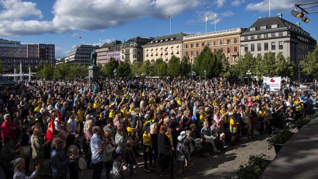 Manifestationen för Jimmy Durmaz i Kungsträdgården i Stockholm 29 juni 2018.