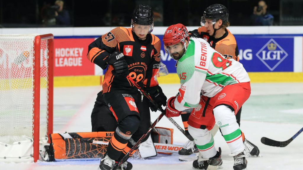 Kalle Johansson (vänster) fick spela CHL-hockey med Graz.