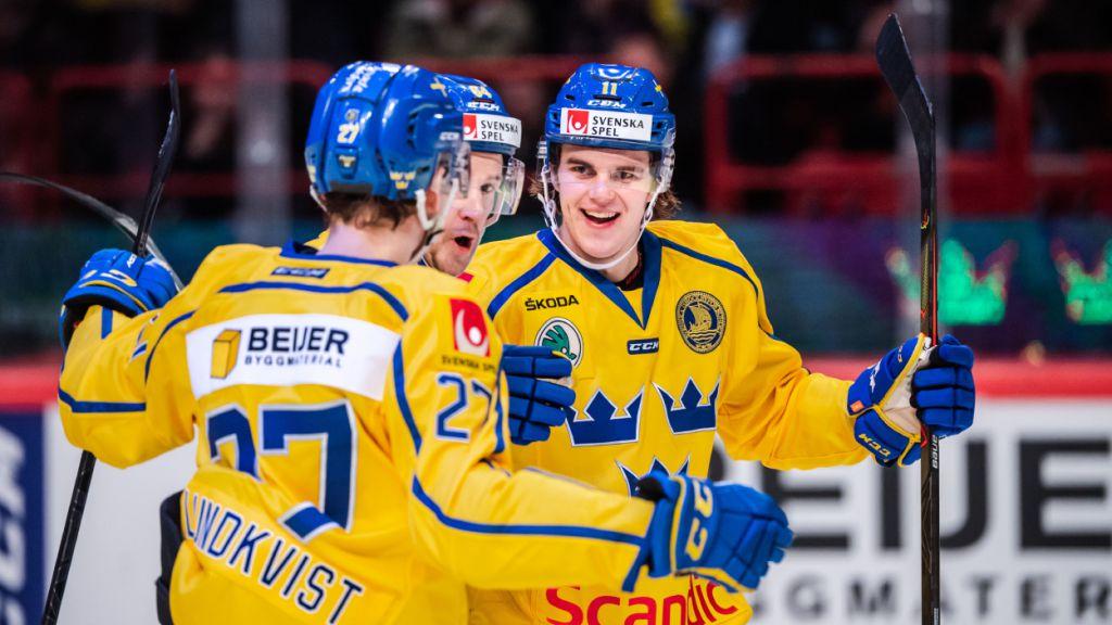 Samuel Fagemo gjorde mål direkt i sin första landskamp med Tre Kronor.