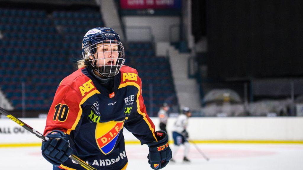 Andrea Dalen i målform när Djurgården vann mot Leksand