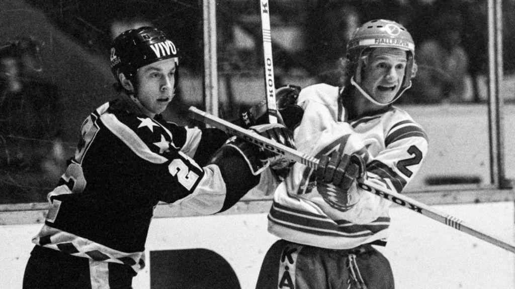 Pär Mårts i närkamp med Tomas Jonsson 1978.