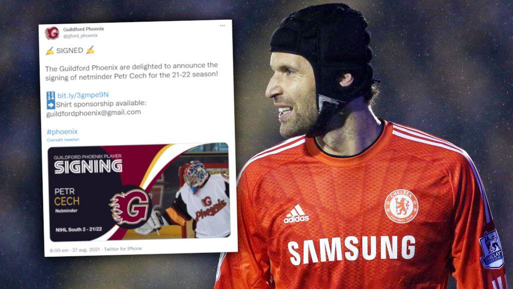 Petr Cech gör comeback – som hockeymålvakt