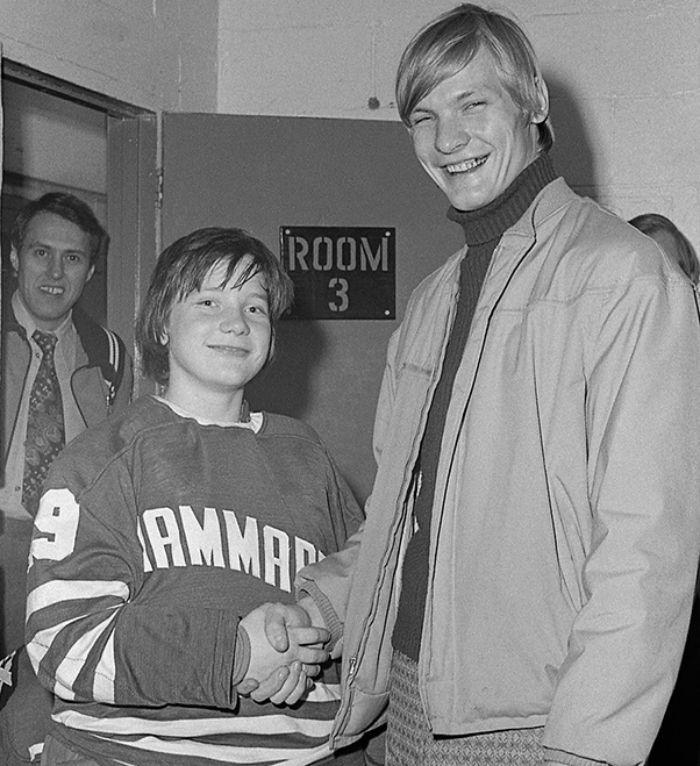 Pelle Lindbergh tillsammans med Thommie Bergman under ett besök i Sarnia, Kanada 1972.