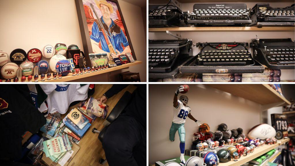 Fredrik Backman har samlat på sig en hel del prylar på sitt kontor genom åren.