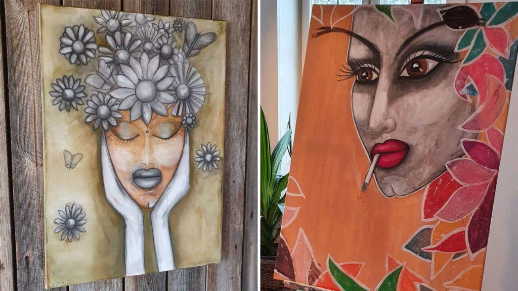 Ett par av Christina Nejdebros tavlor.