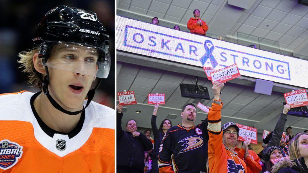 Oskar Lindblom fick fansens stöd i Philadelphia under sina cancerbehandlingar.